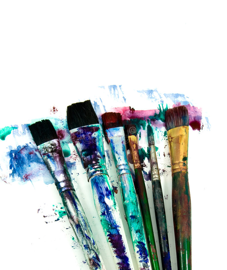 Art. A selection of art paint brushes royalty free stock image