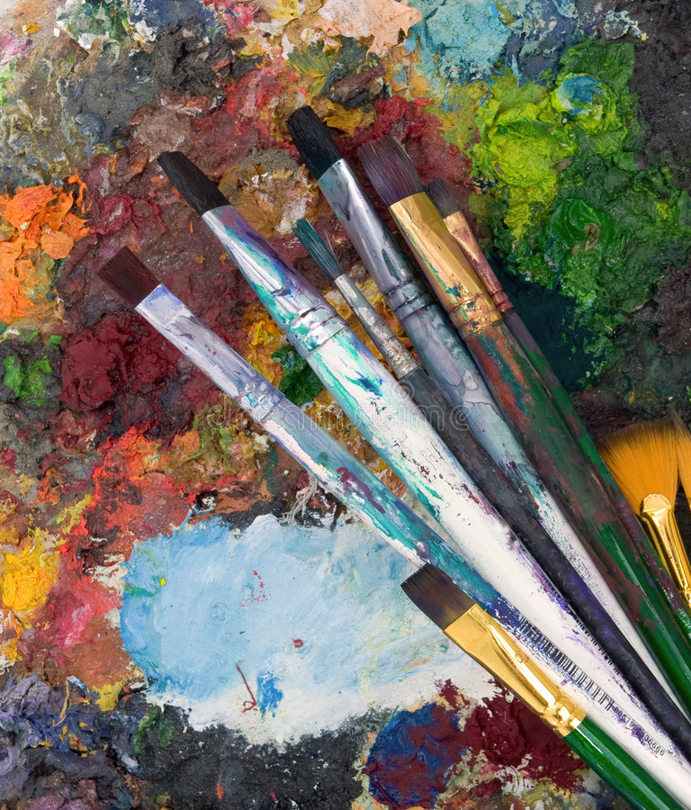 Art. A selection of art paint brushes stock images