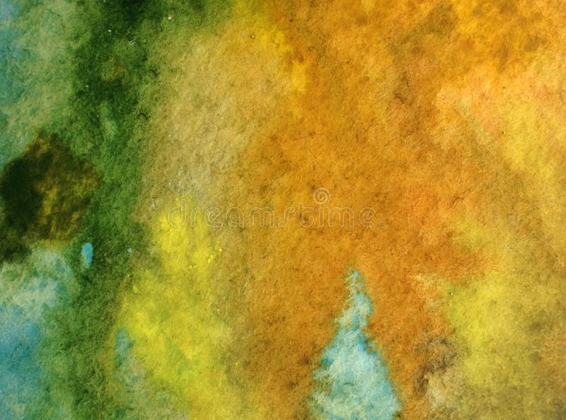Watercolor art background abstract eco coast sea green blue colorful textured wet wash blurred stock image