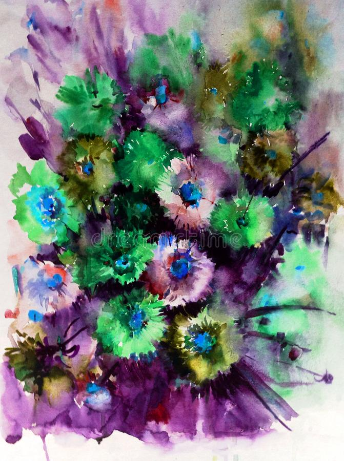 Watercolor art abstract background floral aster wild flowers blossom branch texture wet wash blurred fantasy stock illustration