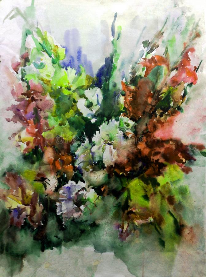 Watercolor art abstract background floral wild flowers blossom branch texture wet wash blurred fantasy stock illustration