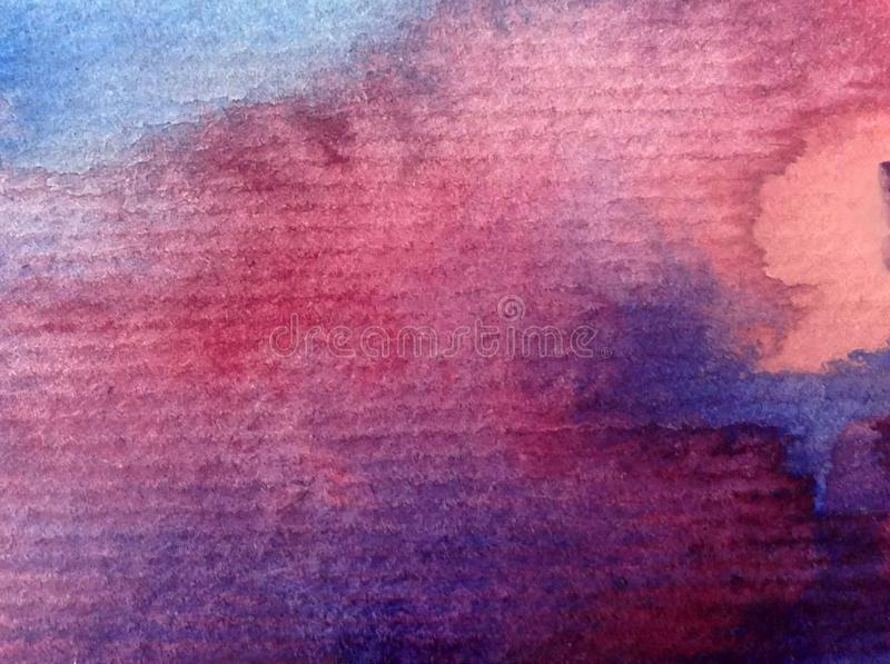 Watercolor art background abstract sky sunrise sunset textured wet wash blurred fantasy royalty free stock photography
