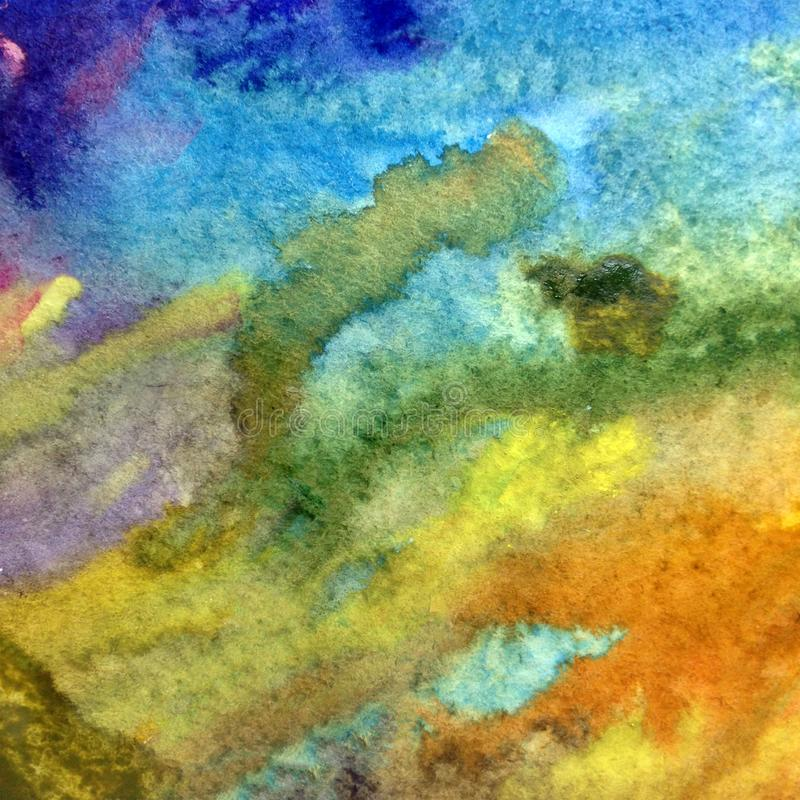 Watercolor art background abstract dye sea water ocean underwater wet wash blurred fantasy. Art abstract background extruded in watercolor. nature bright wash stock images
