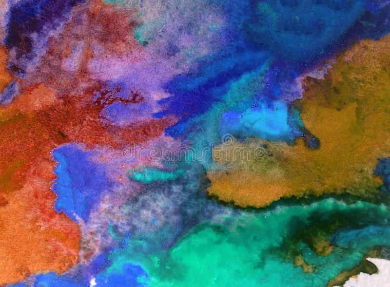Watercolor art background abstract colorful textured wet wash blurred sea ocean. Art abstract background extrudet watercolor . wet wash blurred colorful handmade royalty free stock photography