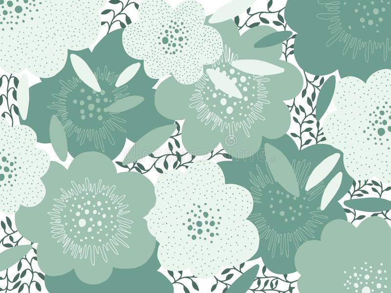 Art abstract flower background green pastel color. Creative texture hand drawing design.Modern style trend royalty free illustration