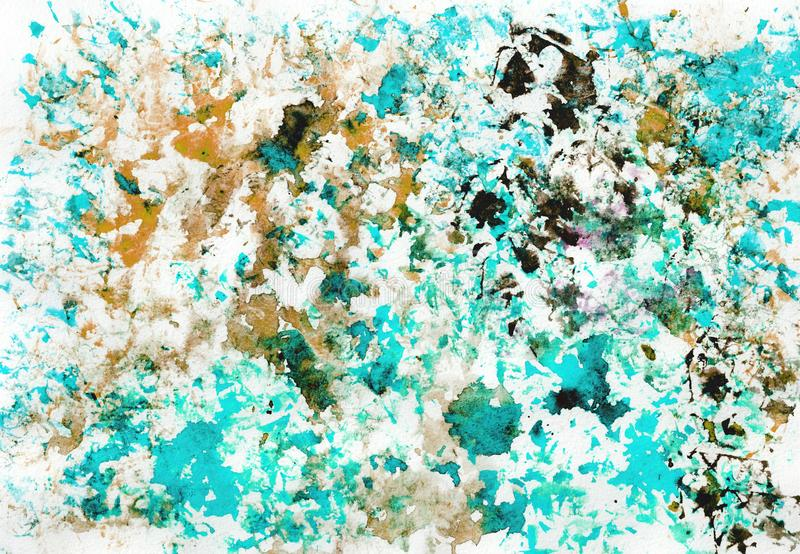 Art abstract grunge textured background with blue, violet, brown and golden blots. Texture of watercolor spray. Hand painted. vector illustration