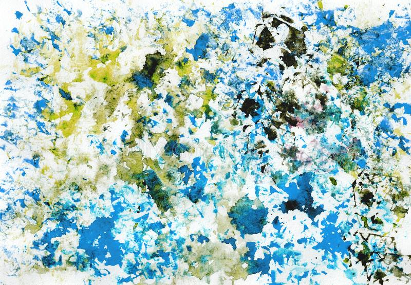 Art abstract grunge textured background with blue, violet, brown and golden blots. Texture of watercolor spray. Hand painted. Art abstract grunge textured royalty free illustration
