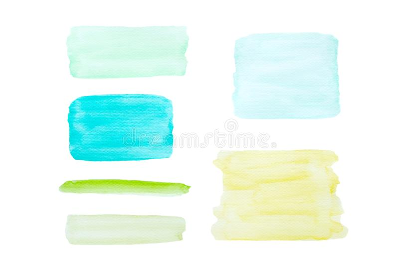 Art abstract illustration, Set of blue green and yellow watercolor painting textured on paper design for background isolated on stock photo