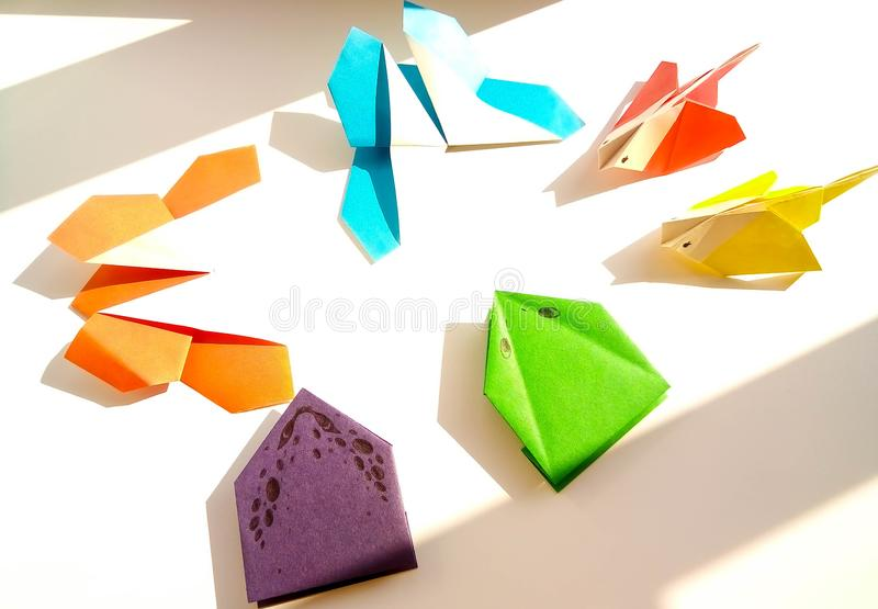 Art of Abstraction in Photo: composition of decorative material on colored paper on a summer theme stock image