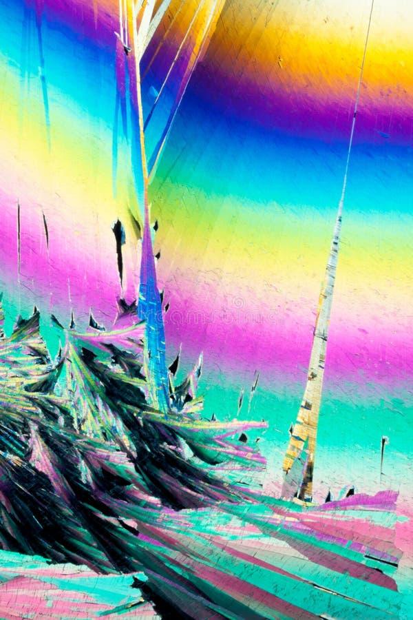Art abstrait coloré de microcrystals d'acide benzoïque images stock