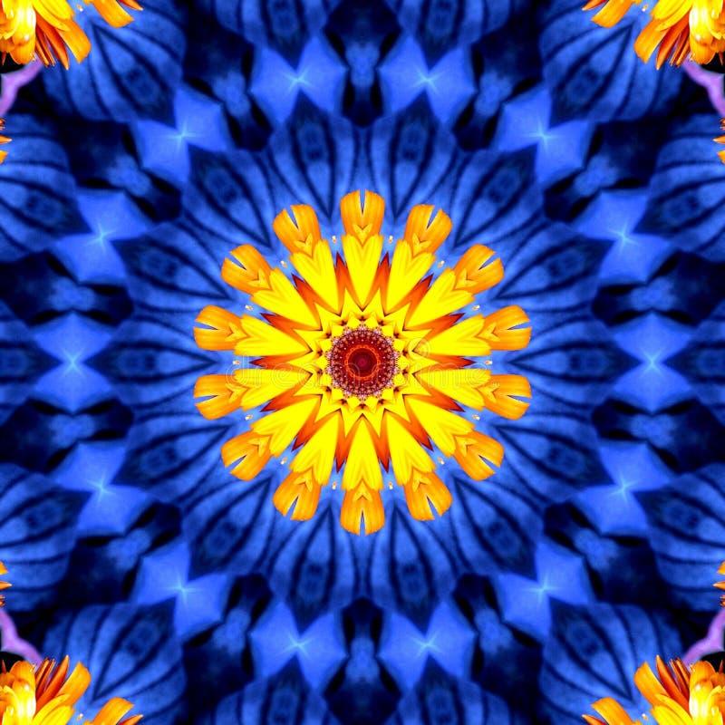 Art abstrait de conception d'illusion avec des couleurs jaunes et bleues image stock
