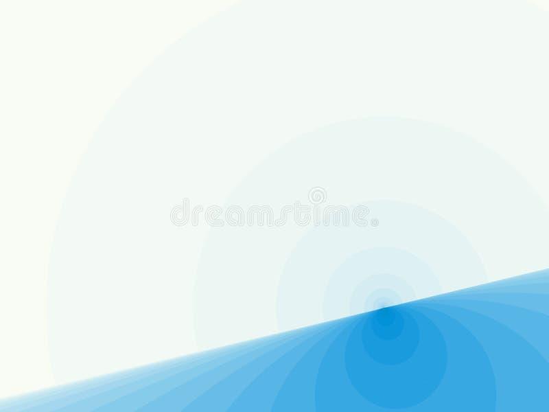 Art abstrait moderne bleu-clair de fractale Illustration simple de fond avec une ligne inclinée et des demi-cercles d'horizon res illustration stock