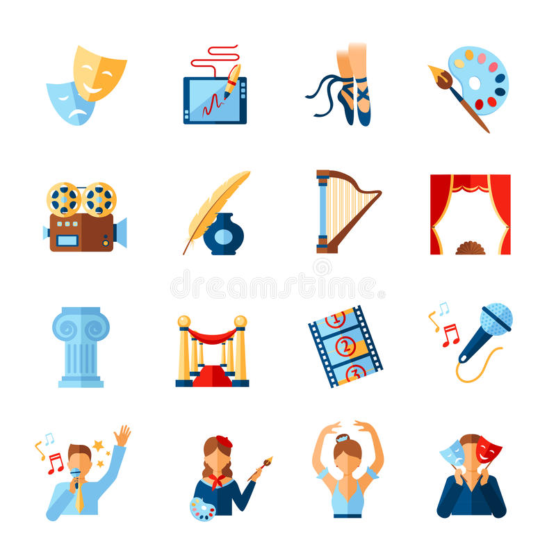 Free Art And Culture Icons Set Royalty Free Stock Image - 55522386