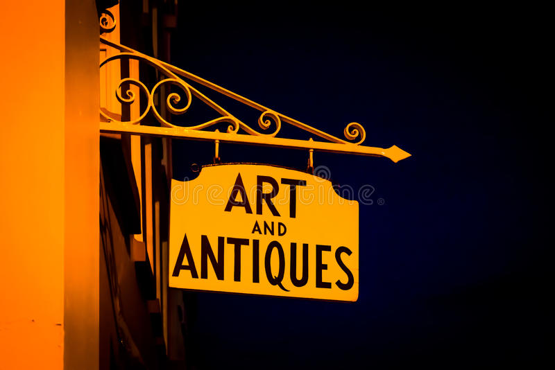 Art and Antiques sign in Ludlow. London, United Kingdom - April 23, 2017: Art and Antiques sign in Ludlow, Shropshire, England, UK royalty free stock images