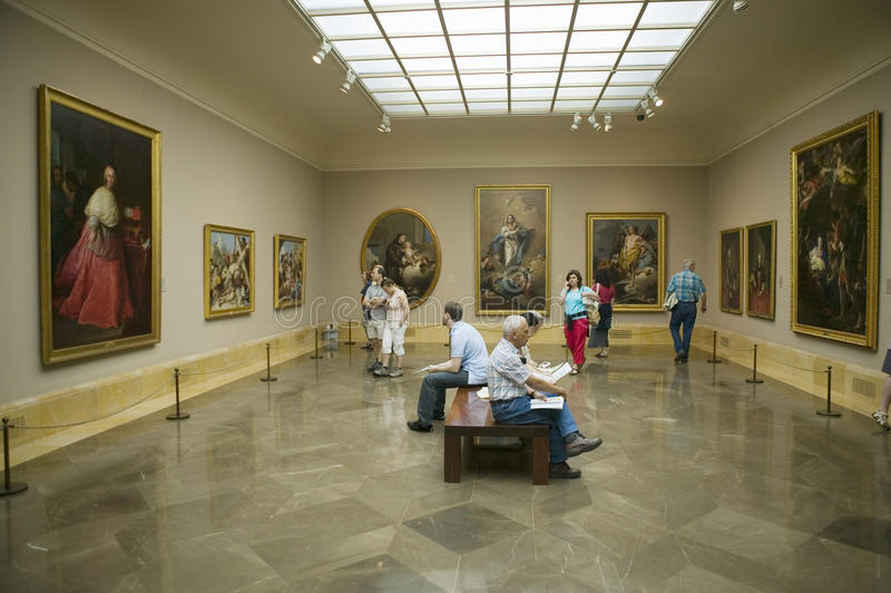 Art appreciators view paintings in Museum de Prado, Prado Museum, Madrid, Spain stock photos