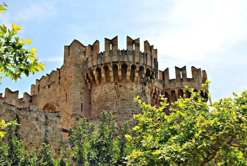 Art Architecture tegelstenPhodes Grekland slott fotografering för bildbyråer