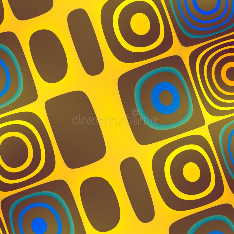 Art Background abstracto azul amarillo - enrrollado ilustración del vector