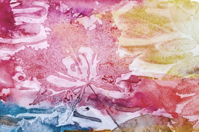 Art background, autumn leaf prints on paper texture royalty free illustration