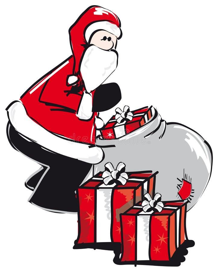 Santa clause unpacks presents from the bag stock photo