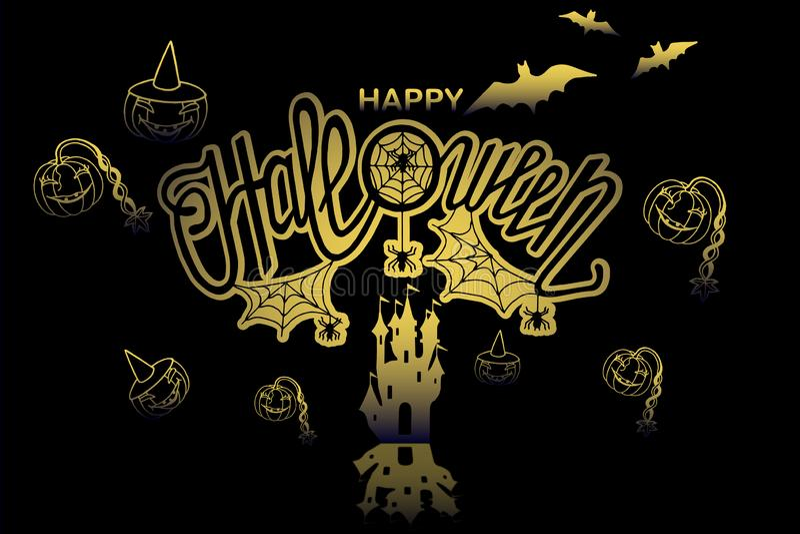 Happy halloween illustration. Art,background,banner,calligraphy,card,celebration,dark,decoration,decorative,design,drawn,element,font,graphic,greeting,halloween royalty free illustration