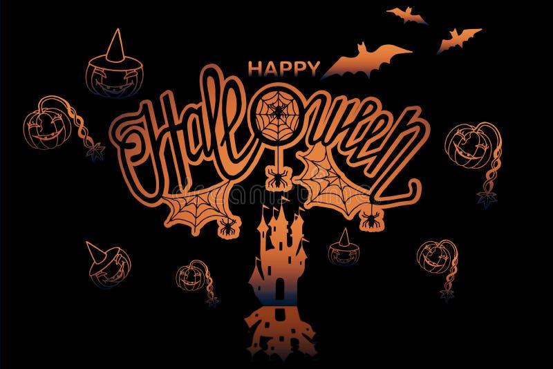 Happy halloween illustration. Art,background,banner,calligraphy,card,celebration,dark,decoration,decorative,design,drawn,element,font,graphic,greeting,halloween vector illustration