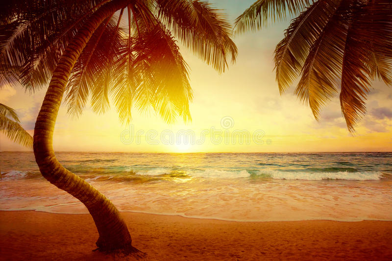 Art Beautiful-zonsopgang over het tropische strand stock fotografie