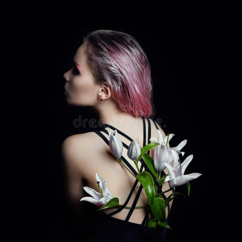 Download Art Beauty Girl With Lilies Behind On A Black Background. Creati Stock Photo - Image of caucasian, natural: 110815164