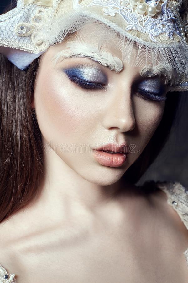 Art beauty girl portrait, eyelashes and makeup. Pure skin, skin stock photography