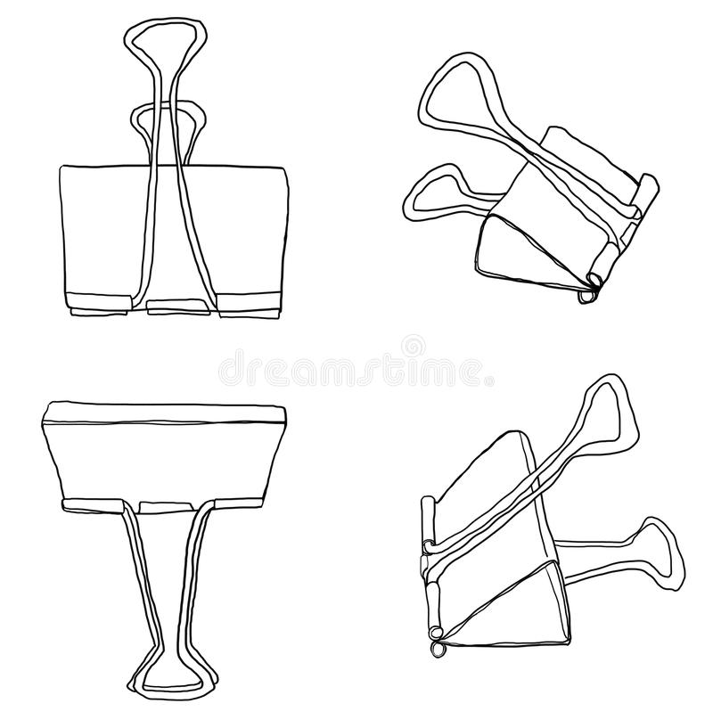 Art Binder Clips Paper Clips Durable Office Paper File Organize. Photo clip holder office accessories line art illustration royalty free illustration