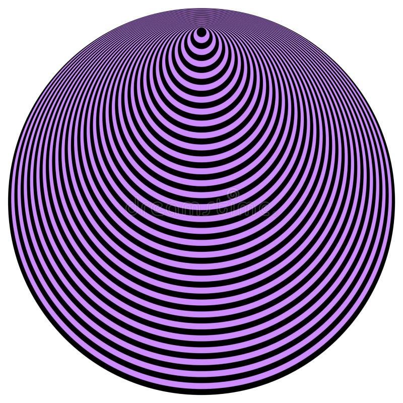 art black circles concentric op over violet απεικόνιση αποθεμάτων