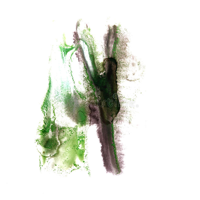 Art Black, gota verde de la pintura de la tinta de la acuarela stock de ilustración