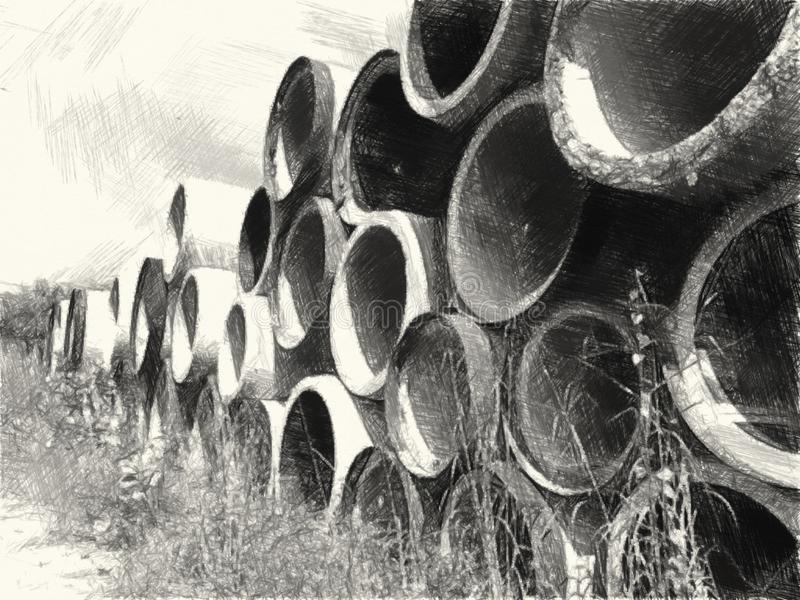 Black and white drawing of cement tube in industry site. Art Black and white drawing of cement tube in industry site stock image
