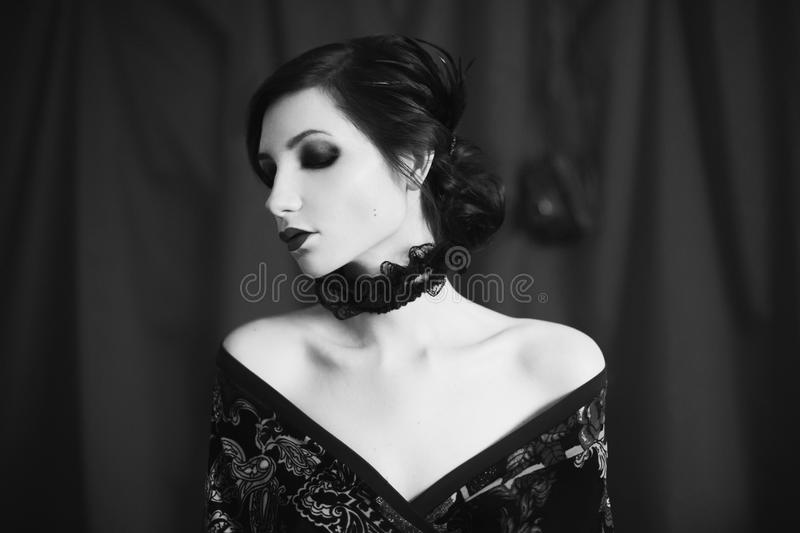 Art black and white photography. Unusual appearance stock photography