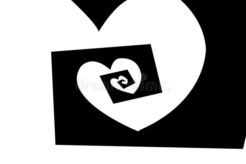 Art black and white spiral heart pattern background. Art black and white spiral heart pattern illustration background vector illustration