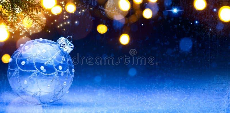 Art Blue Christmas bakgrund; Julsammansättning med Xmas D fotografering för bildbyråer