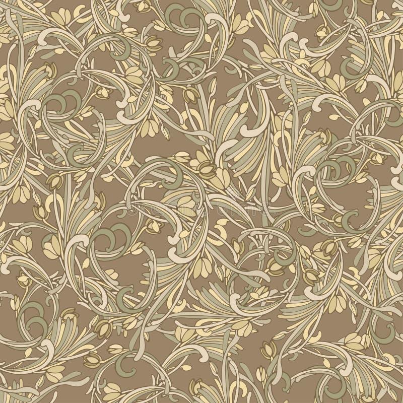 Art-Braunfarbe des nahtlosen Hintergrundes barocke Weinleseluxus Muster Retro- viktorianisches Verzierungs-Damaskus-Art Elemente  stock abbildung