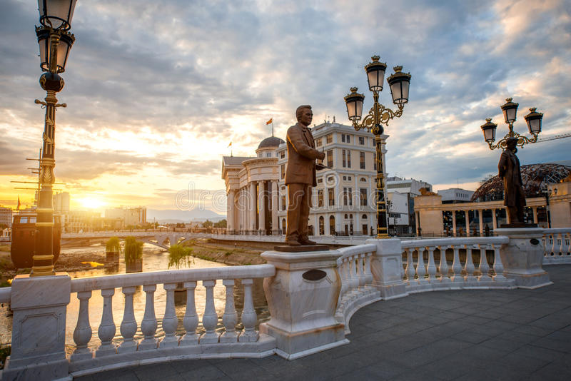 Art bridge in Skopje royalty free stock photos