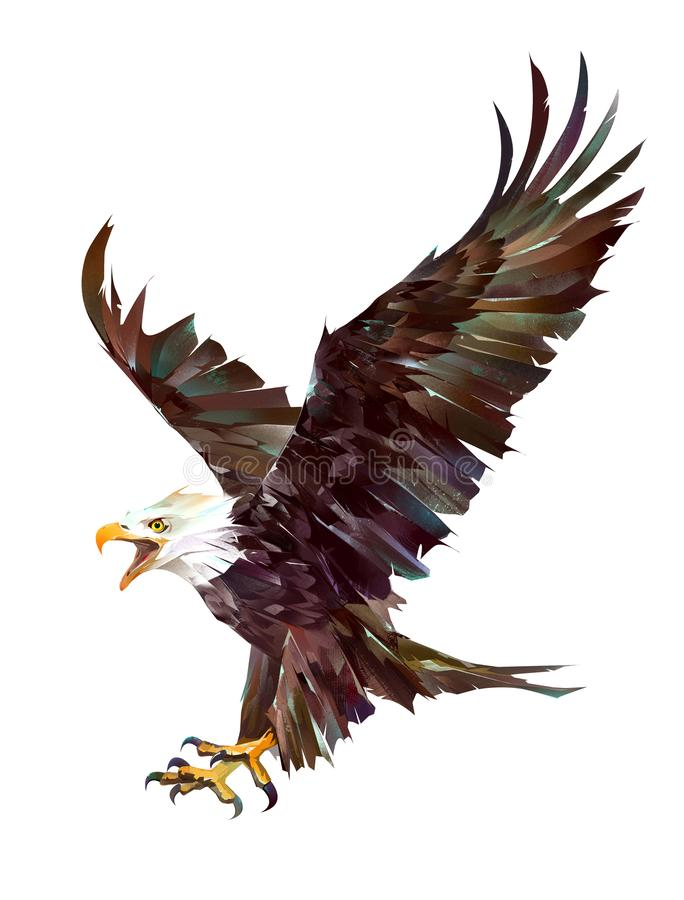Drawn bright eagle in flight on a white background royalty free stock photography