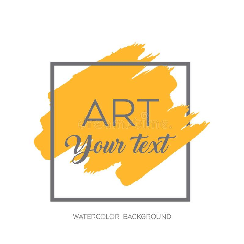 Art brush painted abstract background. Acrylic design illustration vector over square frame. Perfect watercolor design for headline, logo and sale banner stock illustration