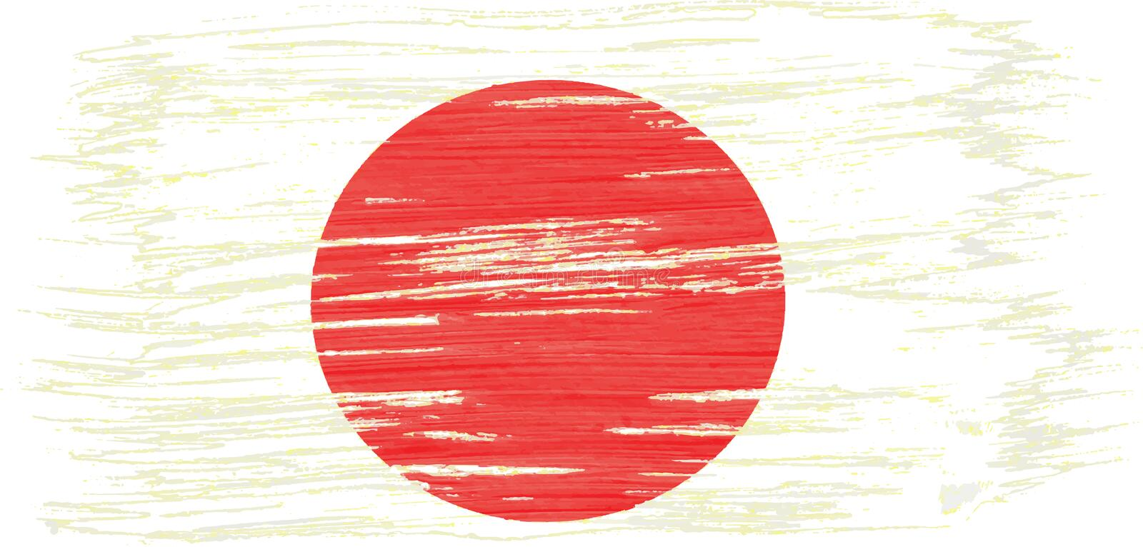 Art brush watercolor painting of Japan flag royalty free illustration