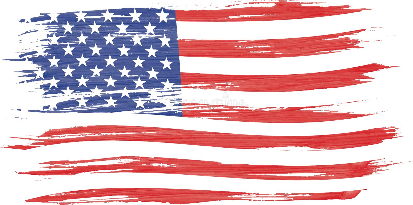 Art brush watercolor painting of USA flag stock illustration