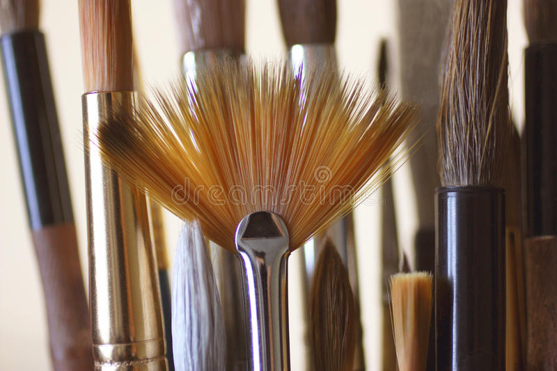 Art brushes of different sizes and shapes stock images