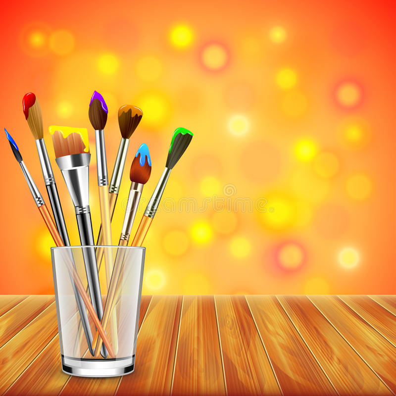 Art brushes in glass on wooden table, colorful background royalty free illustration