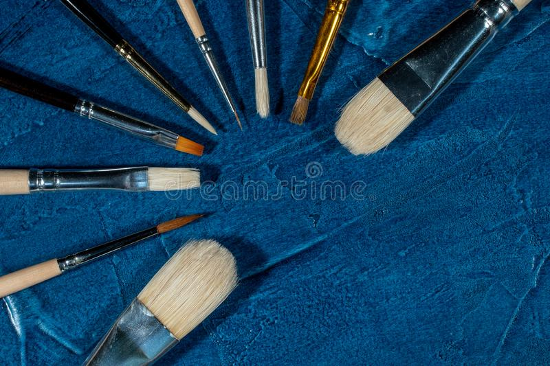 Art brushes for painting. With oil paints stock photography