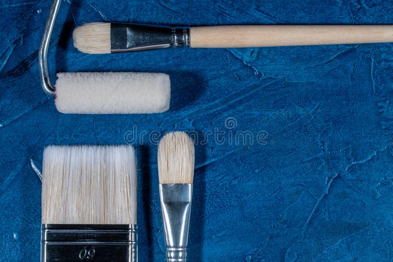 Art brushes for painting. With oil paints royalty free stock images