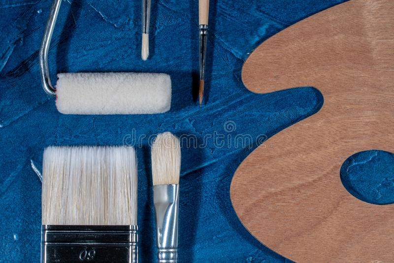 Art brushes for painting. With oil paints stock photo