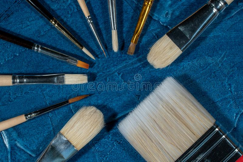 Art brushes for painting. With oil paints royalty free stock photos