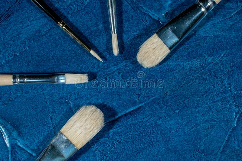 Art brushes for painting. With oil paints royalty free stock photography