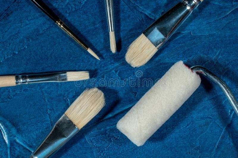 Art brushes for painting. With oil paints royalty free stock photo