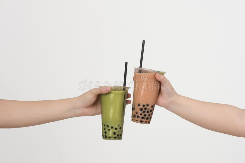 Art of bubble milk tea with thai milk tea royalty free stock photography